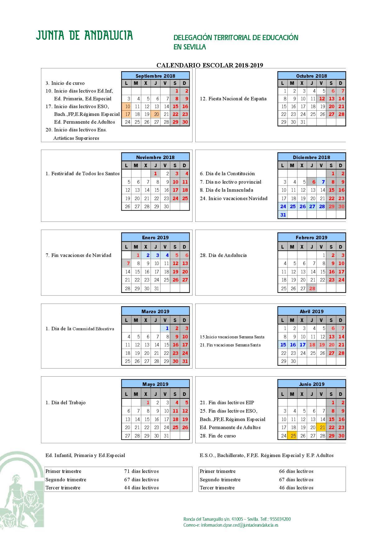 Calendario Escolar Infantil Primaria